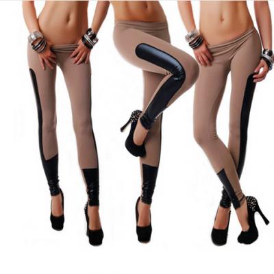 Leggings Leather Patchwork