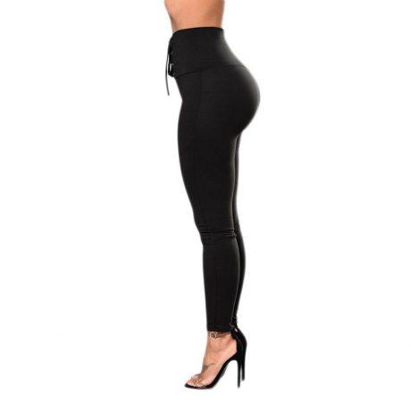 Autumn Sexy High Waist Women's Black Legging, Lace Up Wide Waist 1