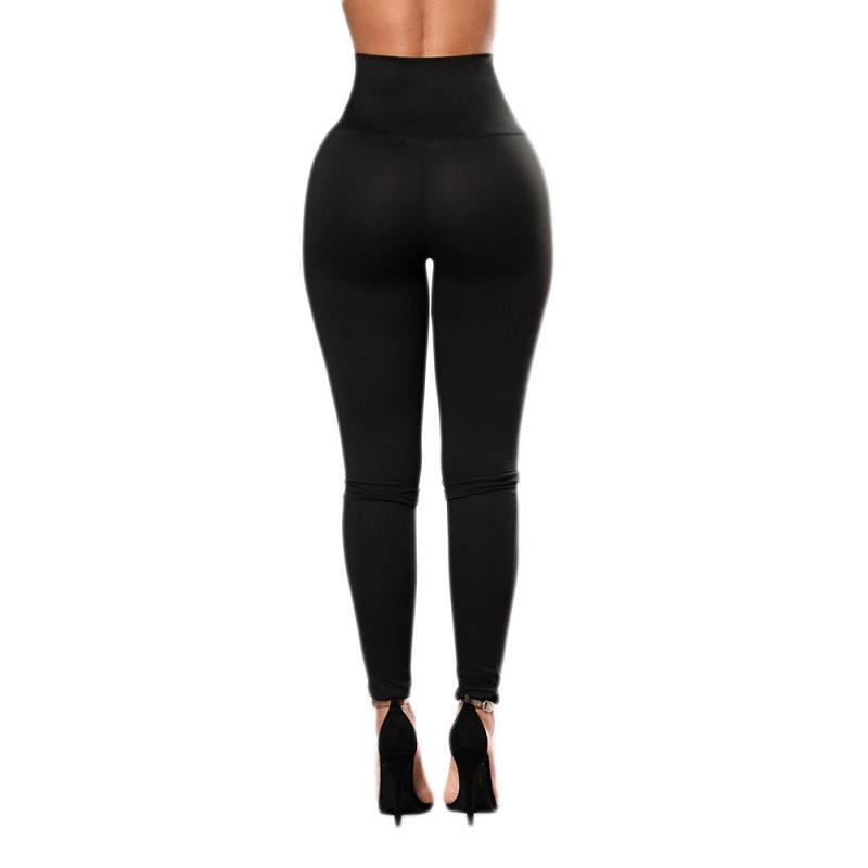 Autumn Sexy High Waist Women's Black Legging, Lace Up Wide Waist 2