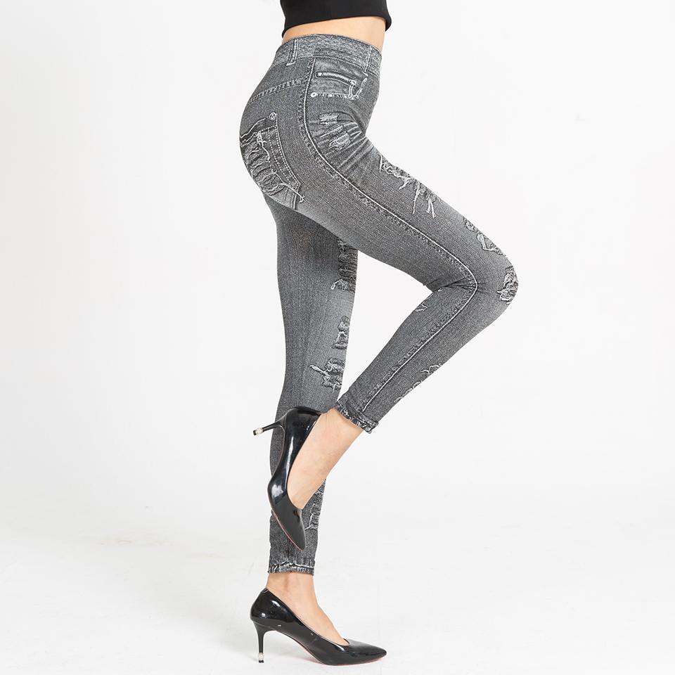 Autumn Women's Print Leggings, Mock Pocket, Hole Jeans Leggings 2