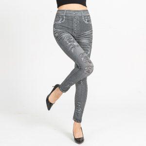 Autumn Women's Print Leggings, Mock Pocket, Hole Jeans Leggings