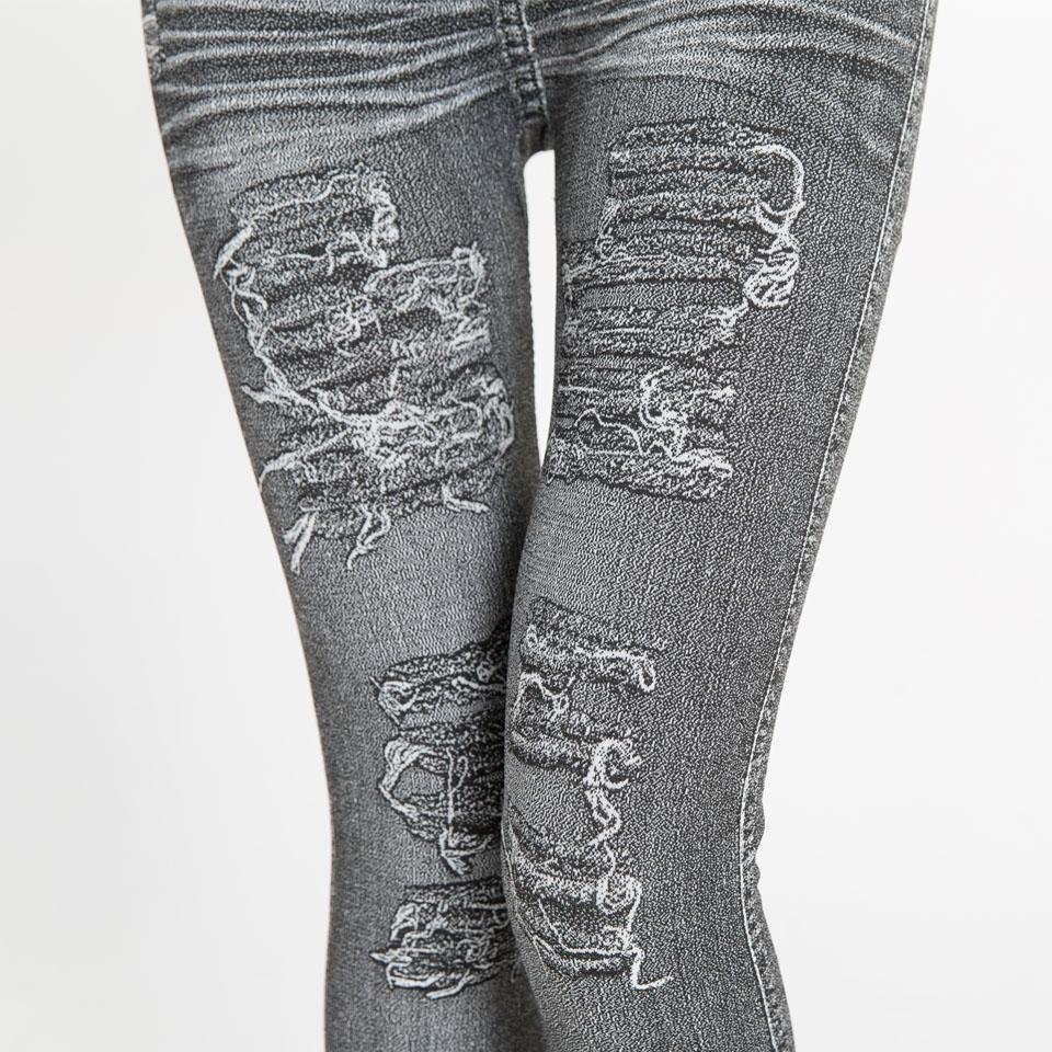 Autumn Women's Print Leggings, Mock Pocket, Hole Jeans Leggings 4