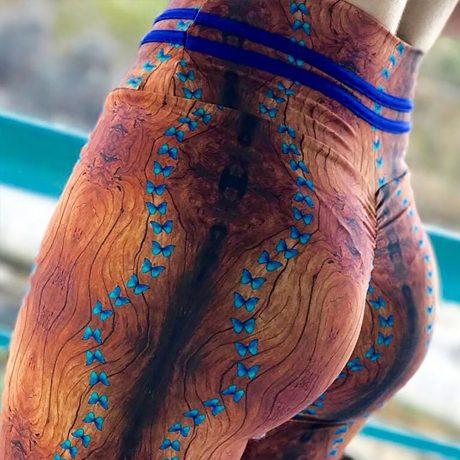 New High Waist Drawstring Women'a Leggings, Tree Bark Print Bottom Wrinkles Push Up Leggings, Sporting Elastic Legging 2