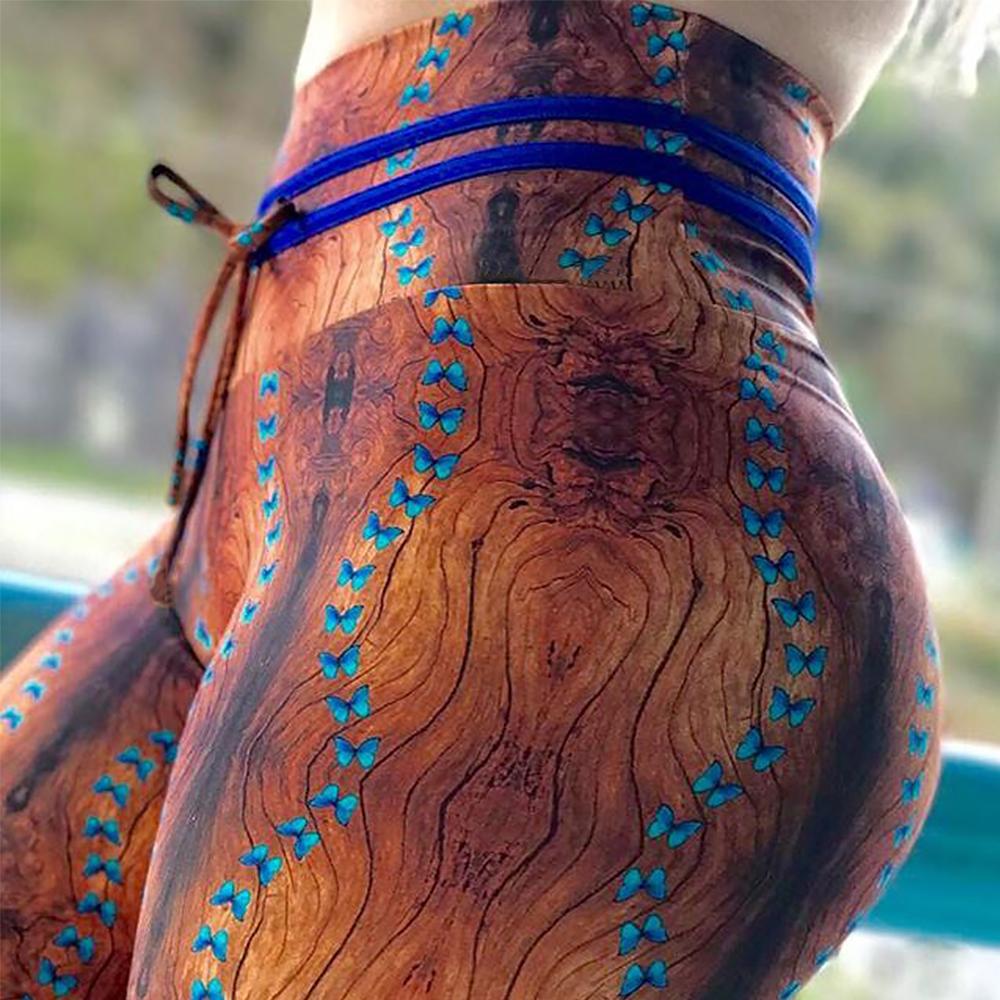 New High Waist Drawstring Women'a Leggings, Tree Bark Print Bottom Wrinkles Push Up Leggings, Sporting Elastic Legging 1