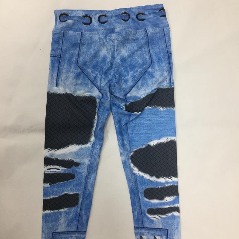 New Fashion Women's Jeans Print Leggings, Sporting Leggings 3D Elastic Pants 7