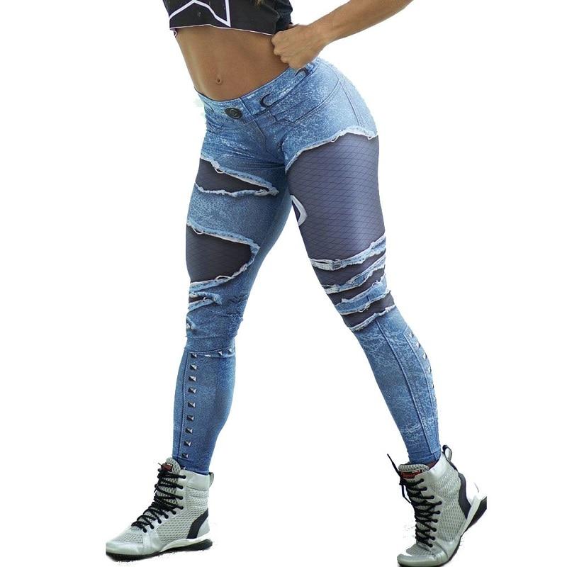 New Fashion Women's Jeans Print Leggings, Sporting Leggings 3D Elastic Pants 3