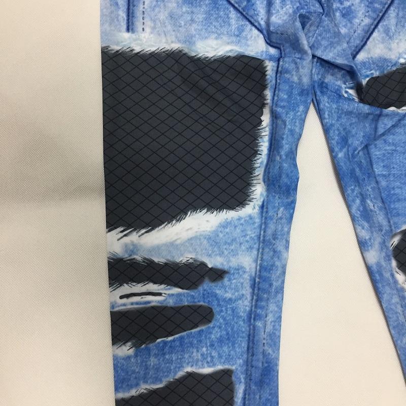 New Fashion Women's Jeans Print Leggings, Sporting Leggings 3D Elastic Pants 9