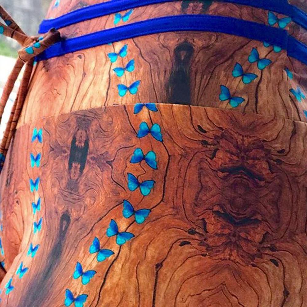 New High Waist Drawstring Women'a Leggings, Tree Bark Print Bottom Wrinkles Push Up Leggings, Sporting Elastic Legging 7