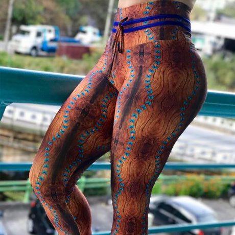 New High Waist Drawstring Women'a Leggings, Tree Bark Print Bottom Wrinkles Push Up Leggings, Sporting Elastic Legging