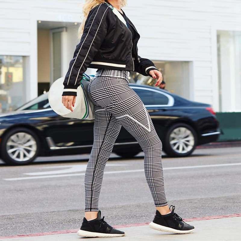 New Plaid V Digital Printing Leggings, Hip Elastic Waist, Hip Elastic High Waist Legging Breathable Pants 6