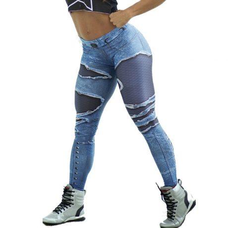 New Fashion Women's Jeans Print Leggings, Sporting Leggings 3D Elastic Pants