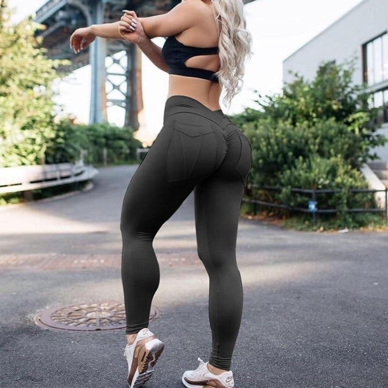 New Women's High Waist Leggings, Push Up Workout Leggings, Solid Pocket Leggings 4