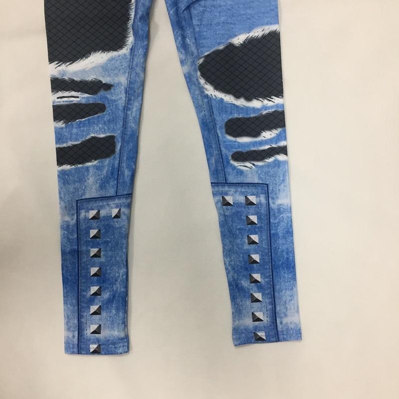 New Fashion Women's Jeans Print Leggings, Sporting Leggings 3D Elastic Pants 10