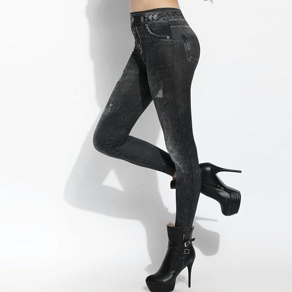 Denim Leggings, Women's Sexy Leggings, High Waist, Denim Print 5
