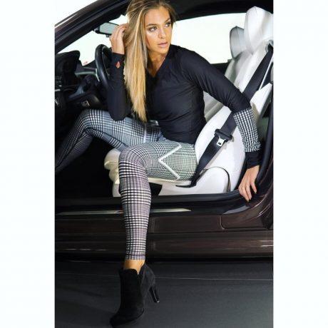 New Plaid V Digital Printing Leggings, Hip Elastic Waist, Hip Elastic High Waist Legging Breathable  Pants 1