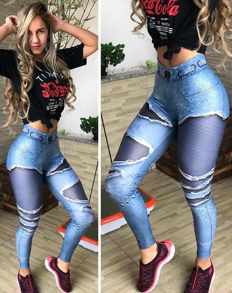New Fashion Women's Jeans Print Leggings, Sporting Leggings 3D Elastic Pants 1