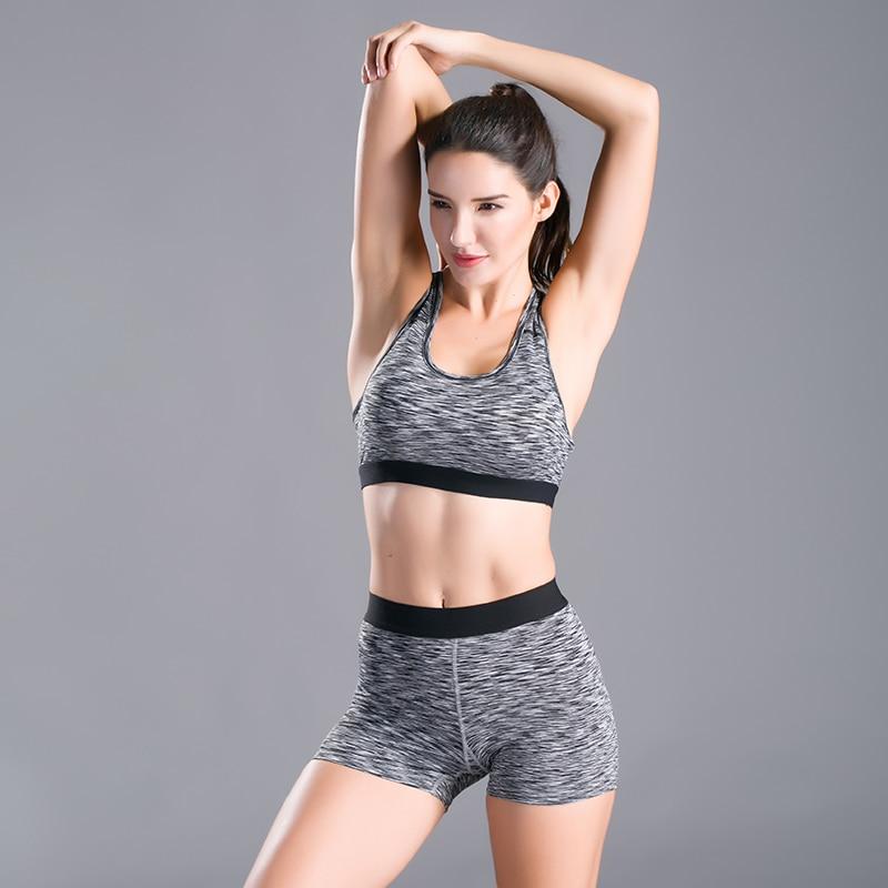 ccbb61b2b9 Women s Yoga Sets for Gym Running Yoga T-Shirt Tops Sports Bra Vest Fitness  Shorts ...