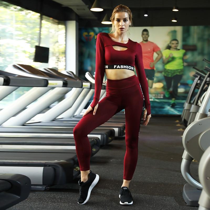 a7af08a31d39b5 New 2pcs Yoga Set Tracksuit Women Gym Clothing Patchwork Fitness ...