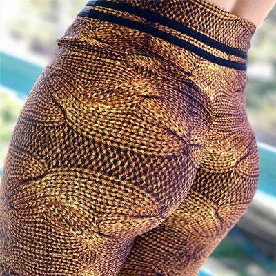 Women's Push Up Hips Leggings, Fitness Prints Imitation Knitwear, High Waist Leggings, Sexy High Elastic Trousers